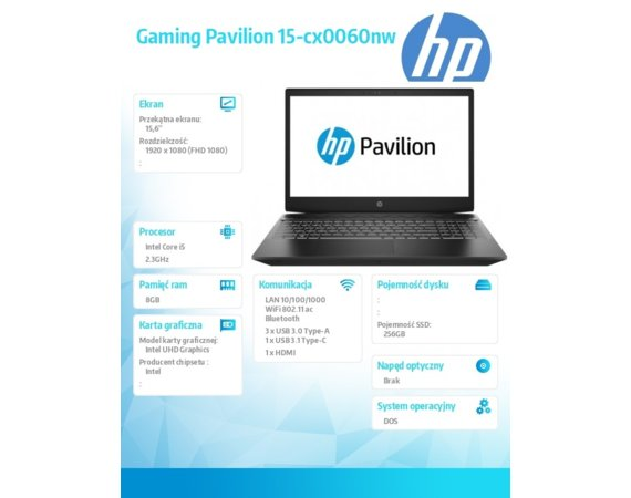 HP Inc. Notebook Gaming Pavilion 15-cx0060nw i5-8300H 256/8G/DOS/15,6  8BM86EA