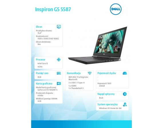 "Dell Inspiron G5 5587 Win10Home i5-8300H/256GB/8GB/15.6""FHD/56WHR/Czarny/1Y PS+1Y CAR"