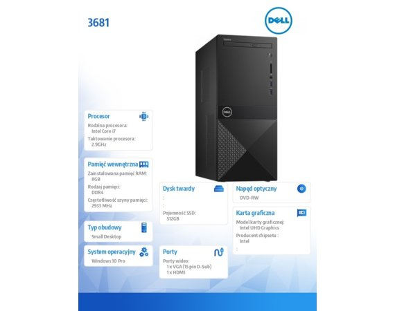 Dell Desktop Vostro 3681 i7-10700/8GB/512GB SSD/UHD 630/DVD RW/WLAN + BT/Kb/Mouse/Win10Pro  3Y BWOS