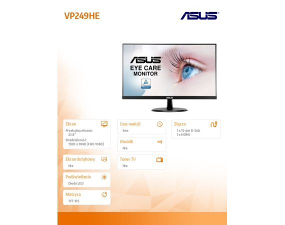 Asus Monitor 24 VP249HE 23.8'' FHD IPS 5ms VGA HDMI