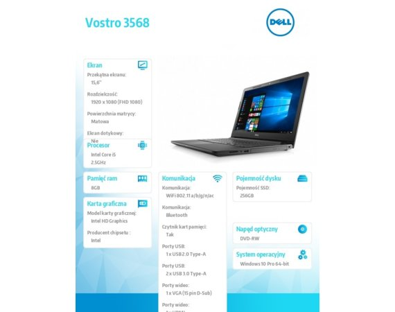 "Dell Notebook VOSTRO 3568 Win10Pro i5-7200U/256GB/8Gb/DVDRW/Intel HD/15.6""FHD/4-cell/3Y NBD"