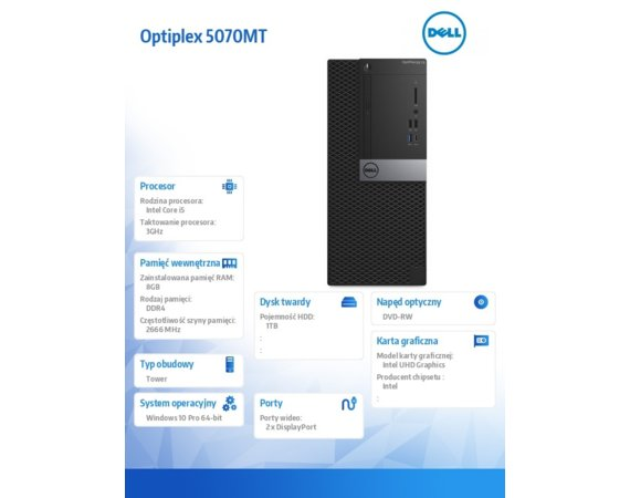 Dell Komputer Optiplex 5070 MT W10Pro i5-9500/8GB/1TB/Intel UHD 630/DVD RW/KB216 & MS116/260W/3Y BWOS