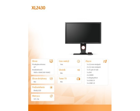 ZOWIE Monitor 24 XL2430 LED 1ms/12MLN:1/HDMI/GAMING