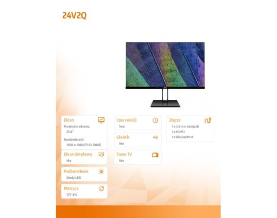 AOC Monitory 23.8 24V2Q IPS DP HDMI FreeSync