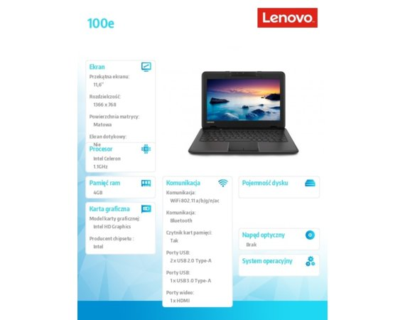 Lenovo Laptop dla szkoły ThinkPad 100e STF 81CY002PPB Win10Pro Academic N3450/4GB/128GB/INT/11.6 HD/1YR CI