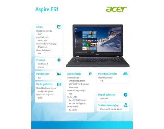 "Acer Aspire ES1-572-31KW i3-6100U/15.6""/4GB/1TB/DVD/Win 10"