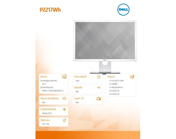 Dell Monitor 21.5 P2217Wh LED /16:10/HDMI(1.4)/DP(1.2)/VGA/2xUSB 2.0/2xUSB 3.0/White/ 3Y PPG