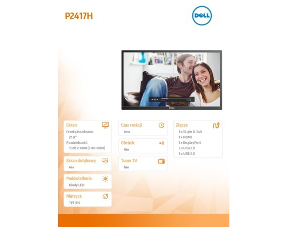Dell Monitor 23.8 P2417H-WOST IPS LED  Full HD (1920x1080) /16:9/HDMI(1.4)/DP(1.2)/VGA/5xUSB/No Stand/3Y PPG