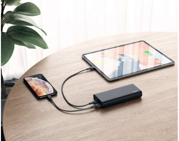 AUKEY PB-XD13 Black ultraszybki Power Bank | 20000 mAh | 4xUSB | 9A | Quick Charge 3.0 | Power Delivery | kabel USB-C