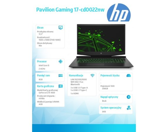 HP Inc. Notebook Pavilion Gaming 17-cd0022nw i5-9300H 256/8G/DOS/17,3  7SH79EA