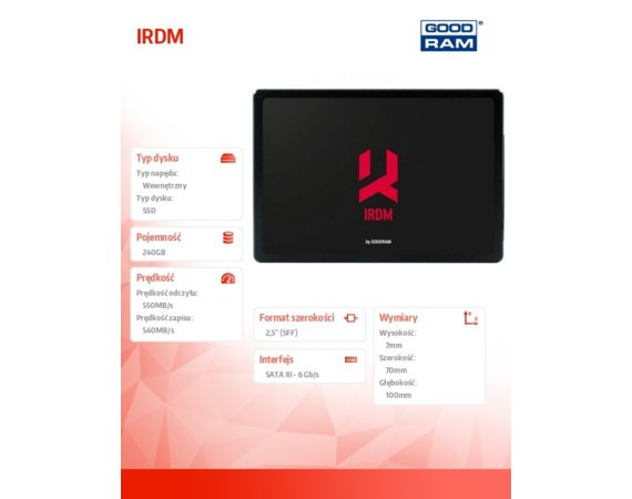 GOODRAM IRDM 240GB SATA3 550/540MB/s