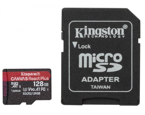 Kingston Karta pamięci microSD 128GB React Plus 285/165MB/s czytnik+adapter