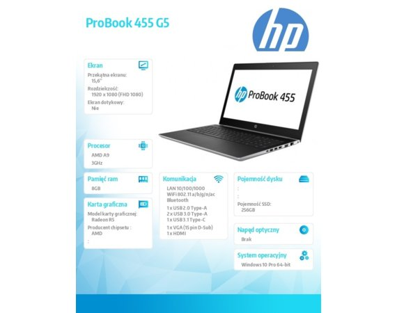 HP Inc. Notebook ProBook 455 G5 A9-9420 W10P 256/8G/15,6      3QL72EA