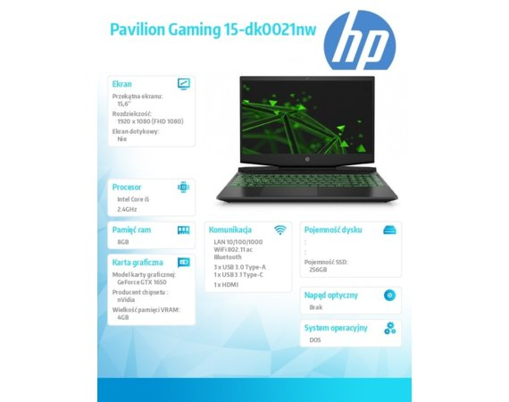 HP Inc. Notebook Pavilion Gaming 15-dk0021nw i5-9300H 256/8G/GTX1650/DOS/15,6  7SD71EA