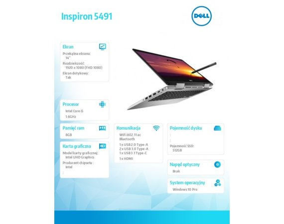 Dell Notebook Inspiron 5491 2in1 W10P i5-10210U/512/8/INT/Silver