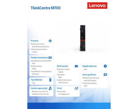 Lenovo ThinkCentre M700 Tiny 10HY002SPB W7P&W10Pro G4400T/4GB/500GB/Integrated/3YRS OS