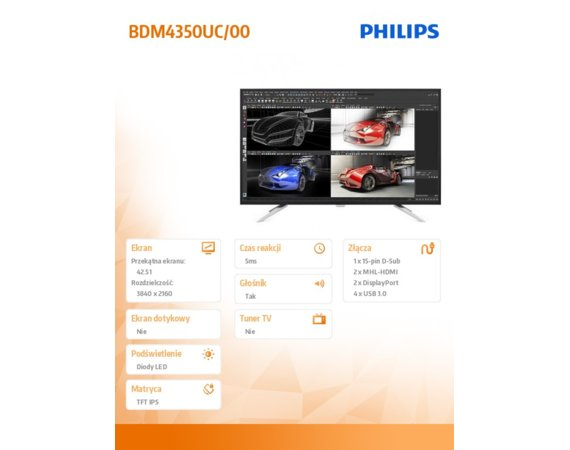 Philips Monitor 43 BDM4350UC IPS 4K DPx2 HDMI-MHLx2