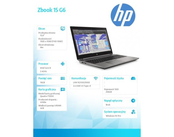 HP Inc. Laptop ZBook 15 G6 i5-9300H 256/16/W10P/15,6 6TQ96EA