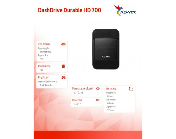 Adata DashDrive Durable HD700 2TB 2.5'' USB3.1 Czarny