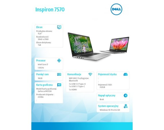 Dell Notebook Inspiron 7570 Win10Pro i7-8550U/512GB/16GB/MX130/15.6 UHD/KB-Backlit/Touch/56WHR/Silver/1Y NBD + 1 Y CAR