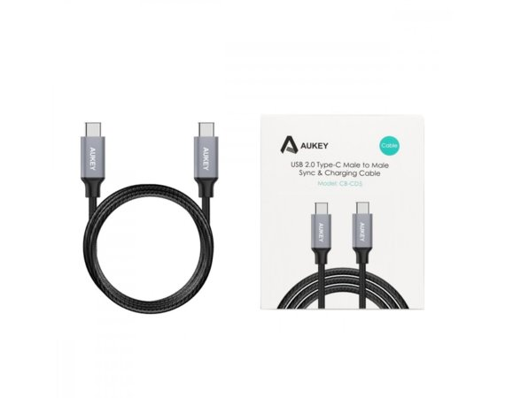 AUKEY CB-CD5 nylonowy ultraszybki kabel Quick Charge USB C - USB C 1m