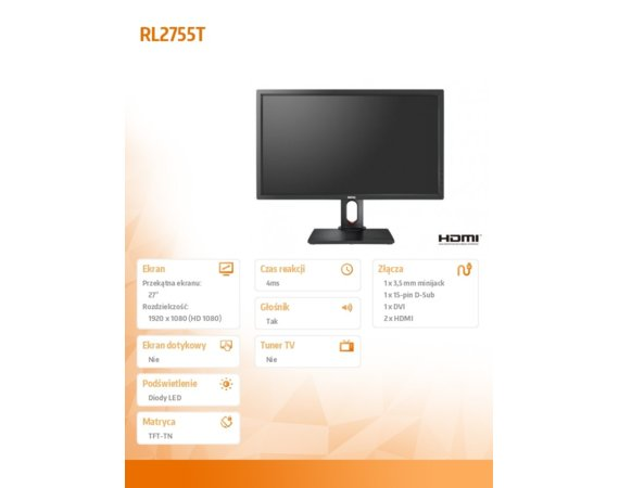 ZOWIE Monitor 27 RL2755T LED 4ms/MVA/20mln:1/HDMI/DVI