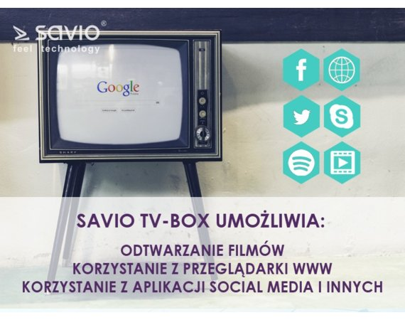Elmak Odtwarzacz multimedialny SAVIO TB-P01 Smart TV Box Premium