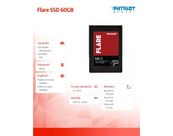 Patriot Flare SSD 60GB SATA III 2.5 New Model on MLC