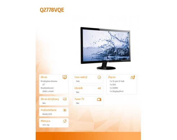 AOC Monitor 27 Q2778VQE LED DVI HDMI DP Czarny