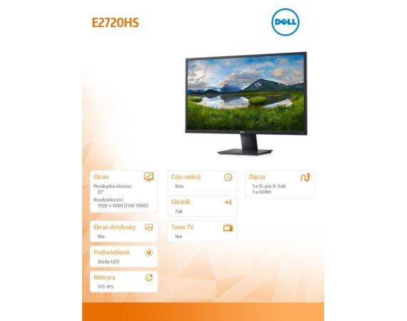 Dell Monitor E2720HS 27'' IPS LED FullHD (1920x1080) /16:9/VGA/HDMI/Speakers/3Y PPG
