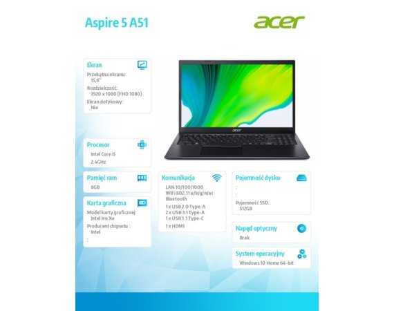 Acer Notebook Aspire A515-56-55NX WIN10H i5-1135G7/8GB/512GB/15.6
