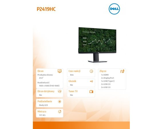 "Dell Monitor 23,8"" P2419HC IPS LED  Full HD (1920x1080) /16:9/HDMI/DP/USB-C/4xUSB/3Y PPG"