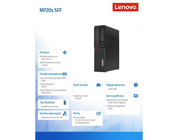 Lenovo Desktop ThinkCentre M720s SFF 10ST004RPB W10Pro i7-8700/8GB/256GB/INT/3YRS OS