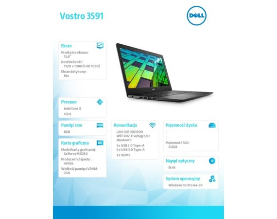 "Dell Notebook Vostro 3591/Core i5-1035G1/8GB/512GB SSD/15.6"" FHD/GeForce MX 230/FgrPr/Cam & Mic/WLAN + BT/Kb/3 Cell/W10Pro/3Y BWOS"