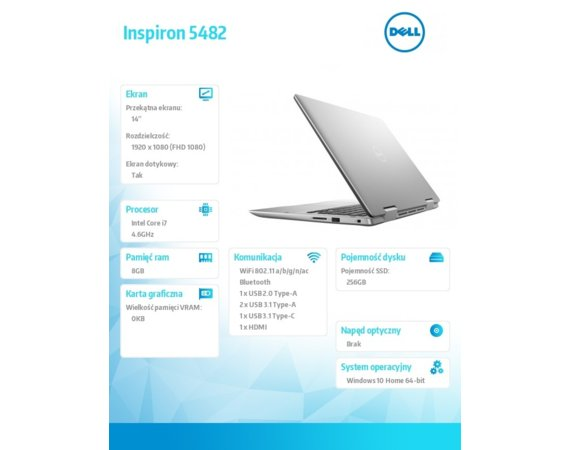 "Dell Inspiron 5482 2in1 Win10Home i7-8565U/256GB/8GB/MX130/14.0""FHD/KB-Backlit/Touch/42WHR/Silver/1Y NBD+1Y CAR"
