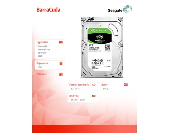 Seagate BarraCuda 3TB 3,5'' 64MB ST3000DM008