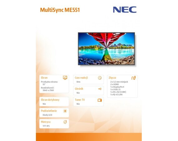 NEC Monitor MultiSync ME551 55 cali UHD 400cd/m2 18/7
