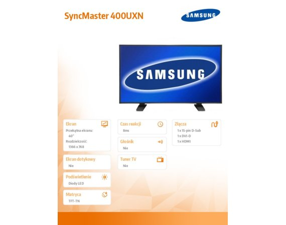 Samsung 40'' LCD wide 8ms 5000:1 SM400Uxn