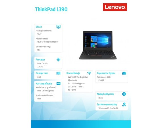 Lenovo Laptop ThinkPad L390 20NR0011PB W10Pro i3-8145U/8GB/256GB/INT/13.3 FHD/Black/1YR CI