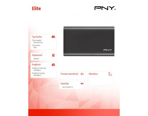 PNY Dysk SSD Elite 480GB USB 3.1 PSD1CS1050-480-FFS