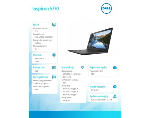 "Dell Inspiron 17 5770 W10Hom i3-6006U/1TB/8GB/Intel HD/DVDRW/17.3""FHD/Black/42WHR/1Y NBD + 1Y CAR"
