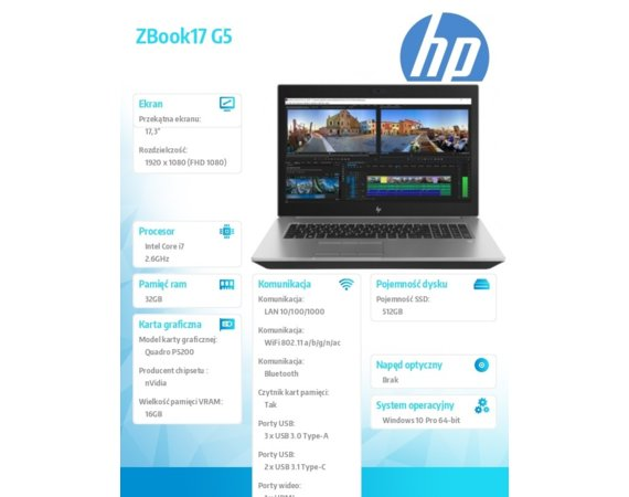 HP Inc. Laptop ZBook17 G5 i7-8850H 512/32/W10P/17,3 2ZC47EA
