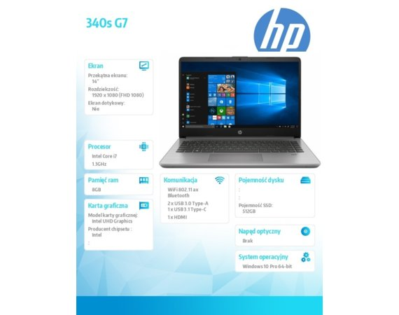 HP Inc. Notebook 340s G7 i7-1065G1 512/8G/W10P/14   8VU99EA