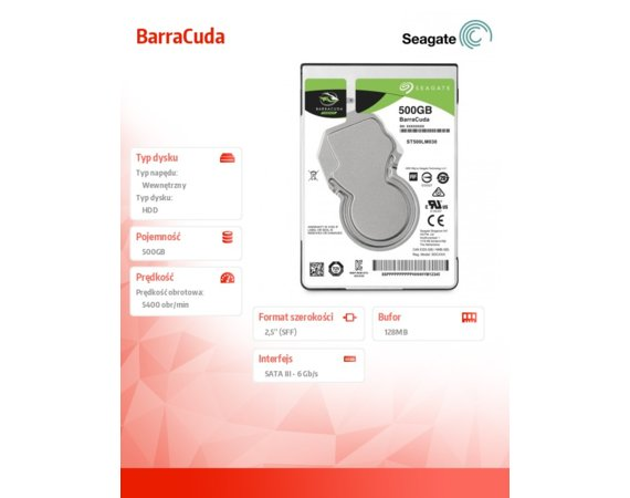 Seagate BarraCuda 500GB 2,5'' 128MB ST500LM030