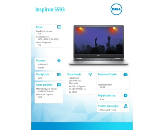 Dell Notebook Inspiron 5593 Win10Hom i7-1065G7/512/16/INT/Silver