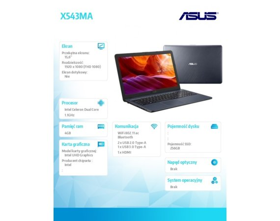 Asus Notebook X543MA-DM621 noOS N4000/4/256/UHD600/15.6