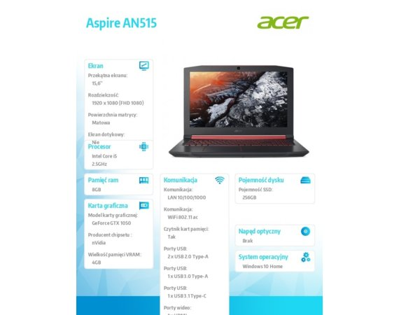 Acer Notebook Aspire AN515-51-5082 REPACK WIN10H i5-7300HQ/8GB/256SSD/GTX1050/15.6FHD