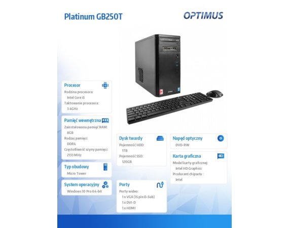 OPTIMUS Platinum GB250T i5-7500/8GB/1TB+120/W10P