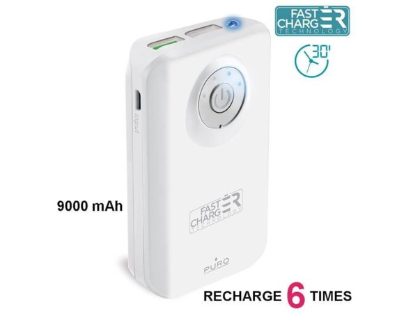 PURO External Fast Power Bank 9000 mAh white