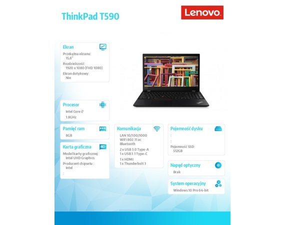 Lenovo Laptop ThinkPad T590 20N4000DPB W10Pro i7-8565U/8GB/512GB/INT/15.6 FHD/3YRS CI